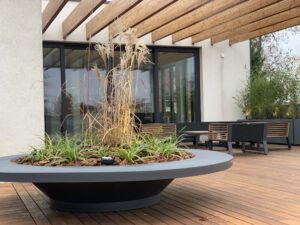 Large pots and plants on the terrace